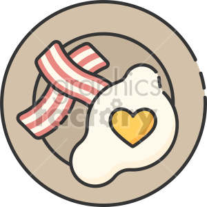 valentines day breakfast eggs and bacon clipart. Royalty-free image # 407461