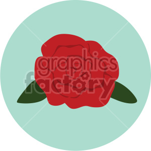 red rose vector icon on green background