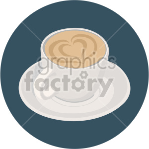 latte cup with heart design for valentines on circle background clipart. Commercial use image # 407595