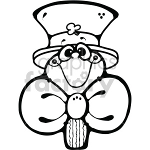 leprechaun shamrock cartoon 004 bw clipart. Commercial use image # 407721