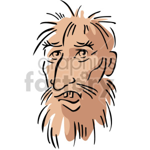 homeless man's face clipart. Commercial use image # 157417