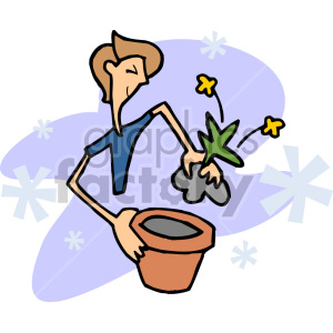 guy planting a flower clipart. Commercial use image # 155265