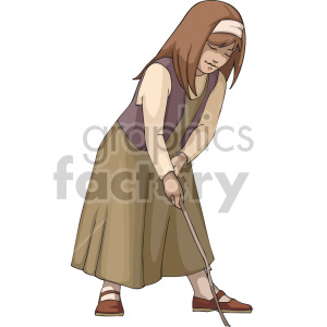 A girl in a dress drawing on the ground with a stick