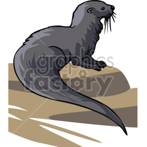 image of an otter clipart. Commercial use image # 129274