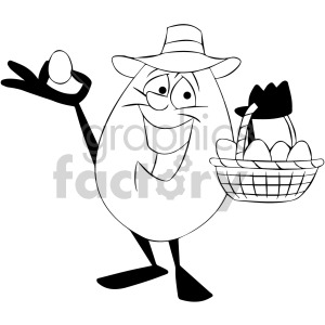 egg Easter cartoon character basket black+white