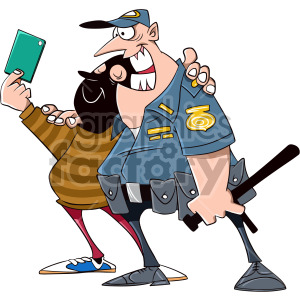 cop taking selfie with criminal cartoon clipart. Royalty-free image # 407892