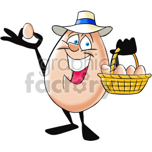 cartoon egg character with basket of eggs