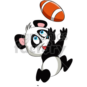 cartoon panda bear playing football clipart. Commercial use image # 407904