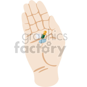 white hand holding pills no background clipart. Royalty-free image # 408192