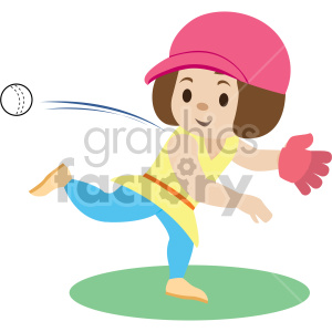 cartoon girl throwing ball clipart. Commercial use image # 408385