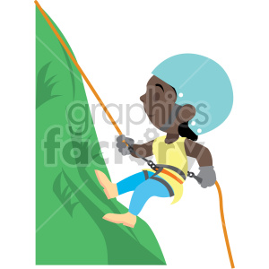 cartoon african american girl rock climbing clipart. Royalty-free image # 408390