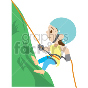 cartoon girl rock climbing clipart. Commercial use image # 408406