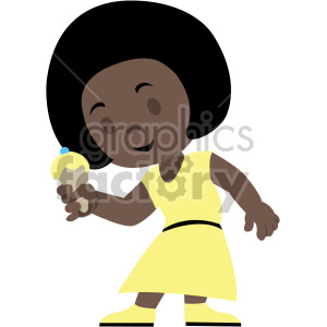 cartoon african american girl eating ice cream cone clipart. Commercial use image # 408409