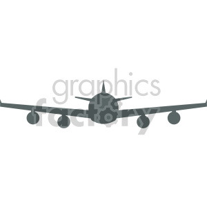 commercial airplane front view vector clipart. Commercial use image # 408427