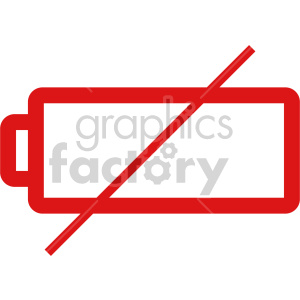 battery dead red thin outline vector clipart. Royalty-free image # 408484