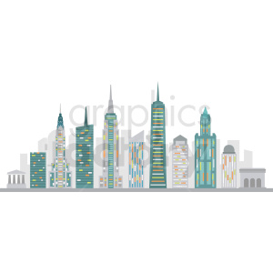new york skyline flat vector design no label clipart. Royalty-free image # 408499