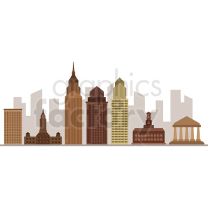 downtown philadelphia city skyline vector clipart. Commercial use image # 408542