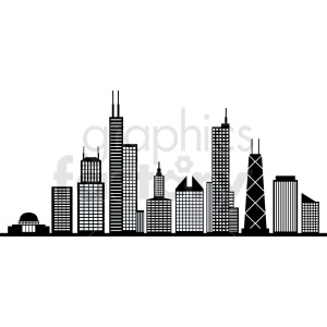 black and white chicago city vector skyline clipart. Commercial use image # 408544