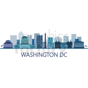 washington city skyline vector design with label clipart. Commercial use image # 408549