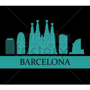 barcelona spain vector on black clipart. Commercial use image # 408562
