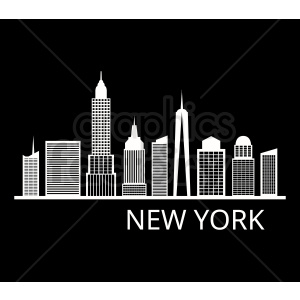 new york skyline flat vector design with label on black clipart. Commercial use image # 408582
