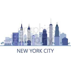 new york skyline flat vector design with label clipart. Commercial use image # 408604