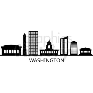 black washington city skyline vector design with label clipart. Commercial use image # 408617