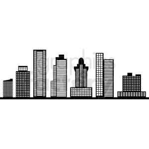 black miami city skyline vector no label clipart. Commercial use image # 408644