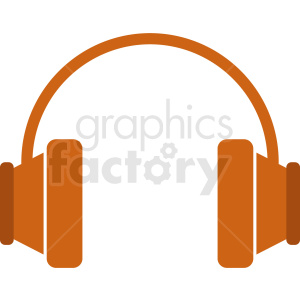 orange headphones vector clipart. Commercial use image # 408712