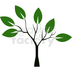 small tree with large leaves clipart. Commercial use image # 408899
