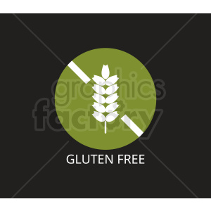 green gluten free symbol on black background clipart. Commercial use image # 408907