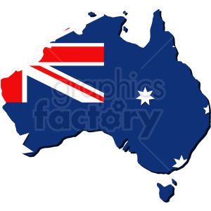 australian flag and country outline vector clipart. Royalty-free image # 409145