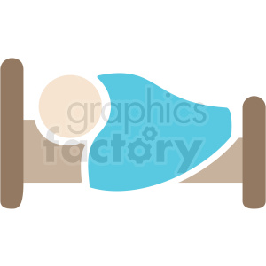 white person sleeping in bed color icon vector clipart. Commercial use image # 409206