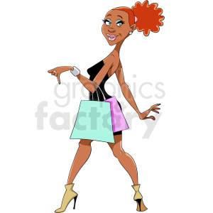 African American woman shopping cartoon clipart. Commercial use image # 409268