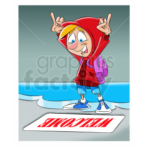 cartoon refugee happy to reach shore clipart. Commercial use image # 409312