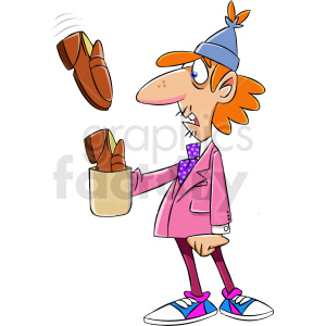 homeless man receiving shoes for tips clipart. Commercial use image # 409323