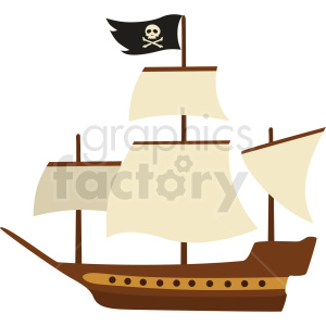 pirate ship vector clipart no background