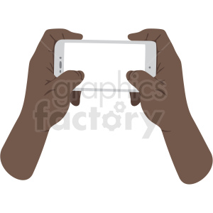 two african american hands holding phone vector clipart no background clipart. Royalty-free image # 409442