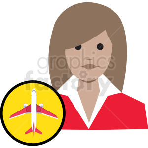 cartoon airline stewardess clipart. Commercial use icon # 409778