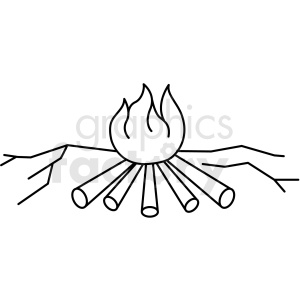 black and white camp fire icon clipart. Royalty-free icon # 409787