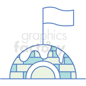 igloo with flag icon clipart. Royalty-free image # 409798