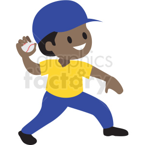 cartoon African American boy throwing baseball clipart. Commercial use image # 409973