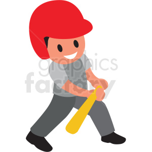 cartoon boy bunting baseball