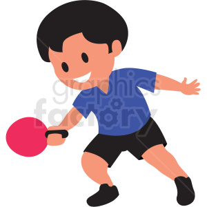 cartoon boy playing ping pong clipart. Commercial use image # 409984