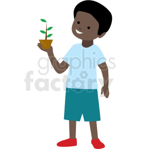 african american boy holding plant vector clipart clipart. Commercial use image # 409990