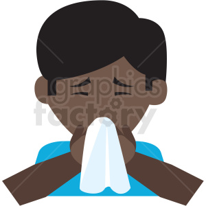 african american boy blowing his nose vector icon clipart. Commercial use image # 410130