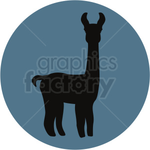 llama silhouette on blue background