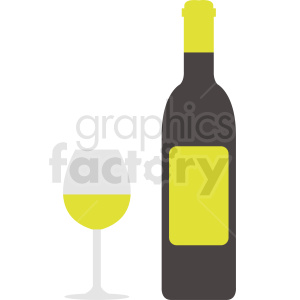 wine bottle with yellow label clipart. Commercial use image # 410306