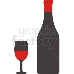 wine glass with large bottle  clipart. Commercial use image # 410322