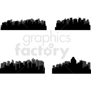 city skylines vector set clipart. Royalty-free image # 410452